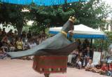 Ball de l'Àliga, de les festes de Sant Ferriol, al pati de la Residència Santa Maria del Tura.